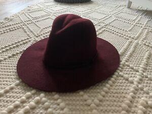 J. Crew Burgundy Wool Women's Hat Fedora Size Combination Small/Medium