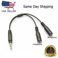 3.5mm Stereo Audio Male To 2 Female Headphone Mic Y Splitter Cable Adapter USA