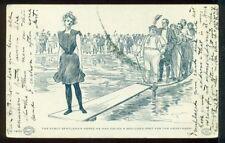 Black and White 1901 Pretty Lady Fat Man HONEYMOON Vacation Vintage Postcard
