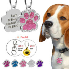 Paw Shape Cute Rhinestone Personalized Dog Tag Cat Tag Disc Engraved Bell Gift