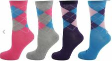 3, 6, 12 pairs  Ladies & Girls Novelty , designed,  Coloured Argyle Socks UK 4-7