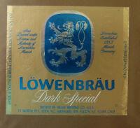 VINTAGE AMERICAN BEER LABEL - MILLERS BREWERY, LOWENBRAU DARK SPECIAL 12 OZ