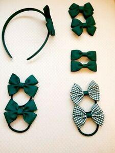 Handmade School Colour Hair Bow Clips Bobbles forest green Headband 9 pieces