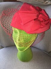 Woman's Vintage Hat & Veil Red