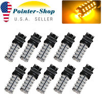 10x Amber/Yellow 3157 3156 68SMD Turn Signal Tail Brake Stop LED Light Bulb 4157