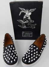 Men's The Damned Skater Slip On Shoes Black White Size 45 EUR 12 US Skulls Goth