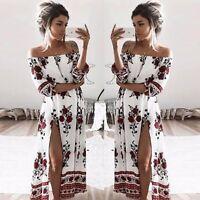 UK Stock Women Vintage Boho Long Maxi Evening Party Beach Dress Floral Sundress