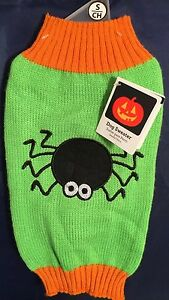 Green Halloween Dog Sweater w/ Black Spider by Simply Dog Size X-Small