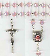 Pope Benedict XVI Resignation Rosary - Crystal Pink