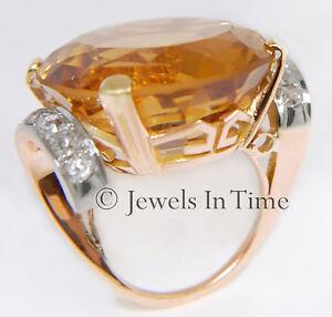 42.00ct Large Citrine & 1.00ct Diamond Ring in 14k Rose Gold 3.5
