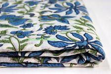 5 Yards soft Cotton Indian Fabric Blue Hand Block printed fabric New UTRGF15