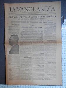 PERIÓDICO REPUBLICANO LA VANGUARDIA 1 ENERO 1939 VICTORIAS EJÉRCITO POPULAR