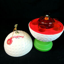 Vintage Golf Ball Trophey Hidden Mini Bar Music Box w/ Decanter and Shot Glasses