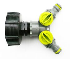 """IBC ADAPTER to Twin1/2"""" (13mm)  Snap on Push Fit Hose Connector. c/w ON/OFF Taps"""