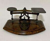 Antique Victorian Small Brass Postal Letter Scales with Weights on Elm Base