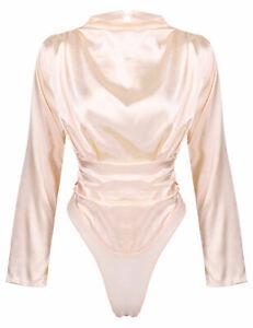 Womens Long Sleeve Elegant Bodysuit Ladies Leotard Silky Satin Body Top T-shirt