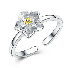 NEW Stylish 925 Sterling Silver Flower Gold Petal Adjustable Ring Size 3-5