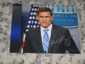 Army General MICHAEL FLYNN Signed 8x10 Photo DONALD TRUMP AUTOGRAPH 1C