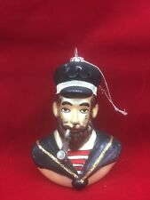 "Pirate Christmas Glass Ornament Nautical Captain Sea Ornament 4.5"""