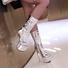 Elissara Women Stiletto Zip High Heel Platform Mid Calf Boots AU Size 2-9 Silver