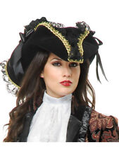 Deluxe Black Gold Velvet Adult Costume Pirate Hat with Lace Ribbon