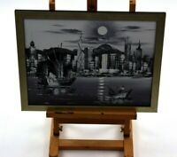 Original Oil Painting On Board Black & White Asia Junk Boats Skyline Framed