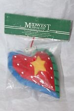 Midwest Importers of Cannon Falls Carved Wood Heart Star Tree Ornament