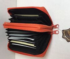 Genuine leather Unisex wallet double zip around accordion style card holder New