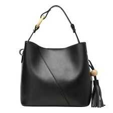 Women Genuine Leather Handbag Shoulder Bag Hobo Tote Casual Tassels Bucket Purse