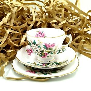 Mid Century Royal Vale Teacup Saucer England 1960s Pink White Flowers Trio
