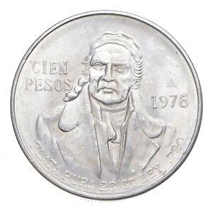 MEXICO 1978 100 PESOS SOLID SILVER COIN MORELOS LOW MINTAGE UNCIRCULATED *147