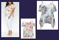 NEW PLUS SIZE QUIZ LADIES COLD SHOULDER SLEEVE TOP CREAM MINT FLOWERS PRINT