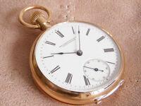 IWC 14K Gold Cal 32 pocket watch International Watch Co from 1885