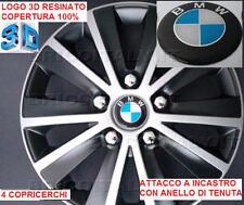 """4 COPRICERCHI CALOTTE RAPTOR 15"""" LOGO RESINATO 3D BMW per SERIE 1"""