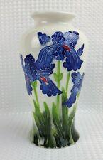 Blue Iris 24.5cm Art Vase With Raised Design