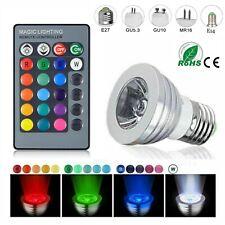 E27 E14 GU10 GU5.3 MR16 RGB LED Spotlight Bulb 3W Color Change+ Remote Control J