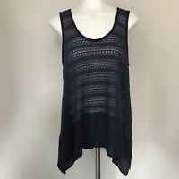 Francesca's Alya Small Tank Top Crochet Knit Navy Blue