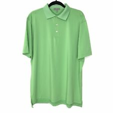Peter Millar Summer Comfort Mens Large S/S Golf Rugby Stretch Polo Bright Green