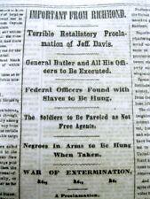 <1862 CIVIL WAR newspaper CONFEDERATE President JEFFERSON DAVIS PROCLAMATION