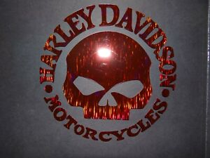 """CUSTOM HARLEY DAVIDSON WILLIE G HOLOGRAPHIC METAL RED DECAL STICKER 6"""" NEW"""