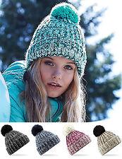 BEECHFIELD Twist Knit Pom Pom Beanie BC485-grueso Sombrero de lana caliente de invierno