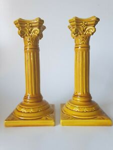 Antique BURMANTOFTS Leeds Pair of Candlesticks Yellow