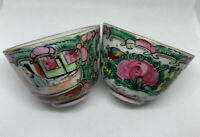 TWO (2) ANTIQUE CHINESE ROSE MEDALLION TEA CUPS HAND PAINTED HONG KONG