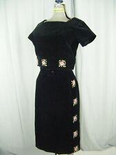Bobbie Brooks Vtg 60s Black Velvet Floral Embro Top & Skirt-Bust 37/Waist 25/Xs