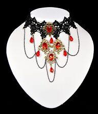 Gothic Collier Burlesque Spitzen Kette Halsband Barock Victorian Schwarz/Rote