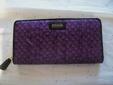 COACH TAYLOR SNAKE PRINT ACCORDION ZIP AROUND WALLET 50089 PURPLE NWT SO CUTE!!