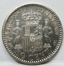 SPAIN 50 centimos 1904 SM.V About UNC Alfonso XIII Silver #E02