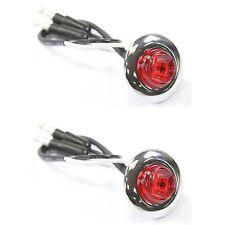 """Pair of 3/4"""" Red Round Bullet LED Light Chrome Bezel Side Marker Truck Trailer"""