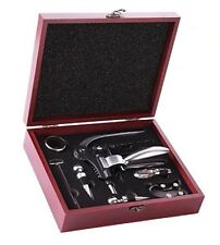 Butler Wine Opening Set In Rosewood Case, Bottle Thermometers, Silicone Stoppers