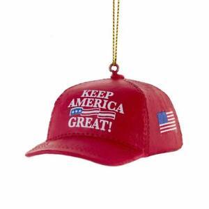 "Kurt Adler MAGA Red ""Keep America Great"" Hat Trump Christmas Ornament"